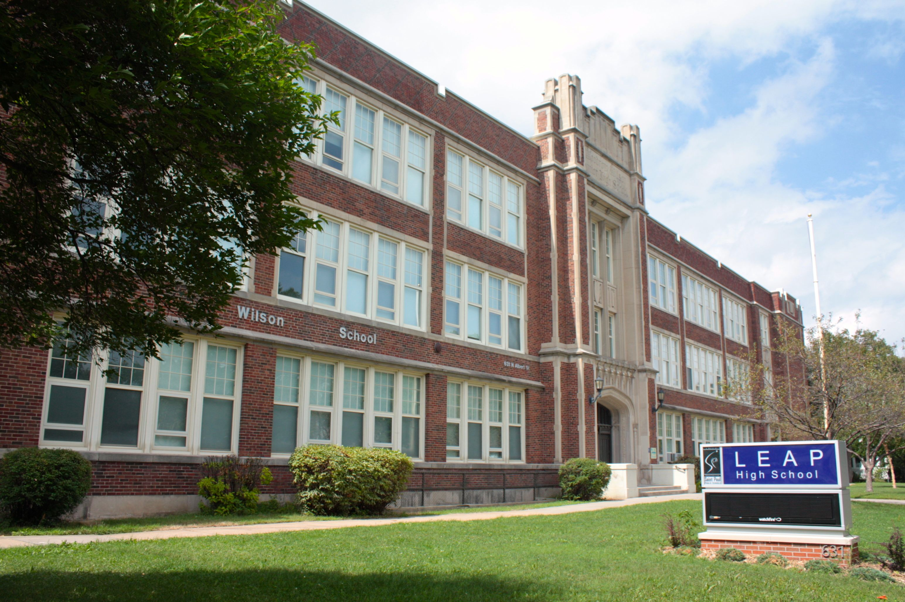LEAP High School, for non-English speaking students, has been in the Woodrow Wilson School building since 2004. It is at 631 North Albert Street.