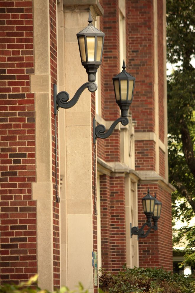Lanterns on the front entrances of Woodrow Wilson School.