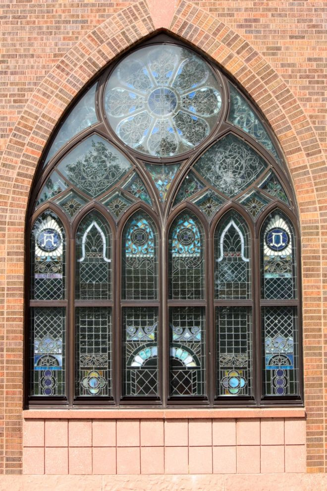 The gorgeous stained glass window that is part of the 1990 expansion.