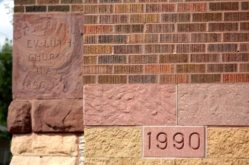 The original 1890 cornerstone and that of the 1990 addition. The addition was part of a 1990 rebuilding project after St. Stephanus got damaged by high winds.