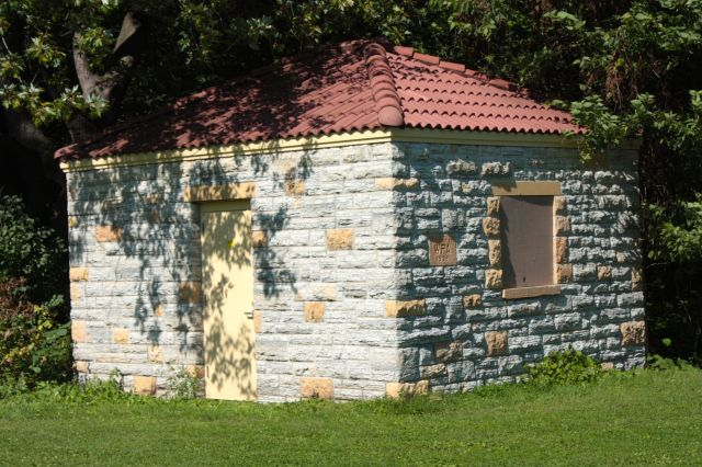 An out building that is part of the pool facility. It too was built by WPA workers in 1936.