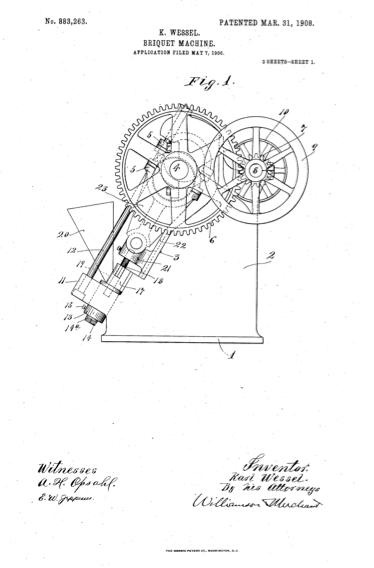 A patent diagram of Karl Wessel's Briquet Machine.