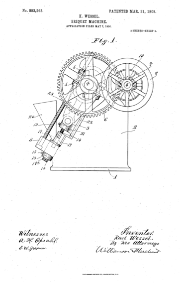 A patent diagram of Karl Wessel's Briquet Machine.