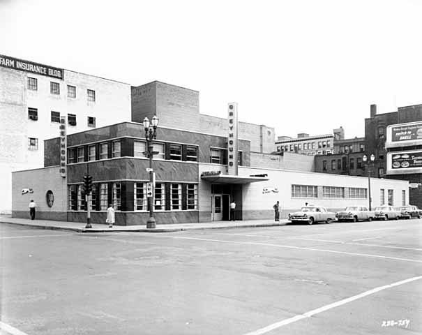 In 1956 and beyond, Saint Paul's Greyhound Bus Depot occupied the corner of St. Peter and 9th Streets.