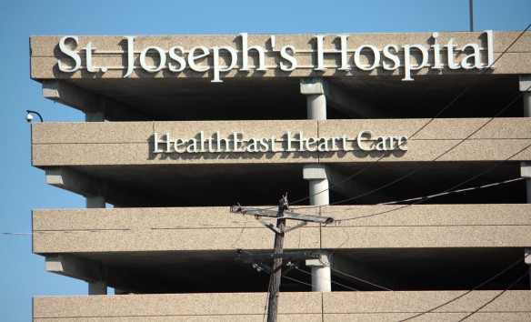 St. Joe's parking ramp doubles as a billboard for the hospital.