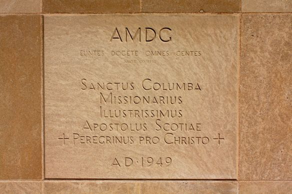 The cornerstone is in Latin.