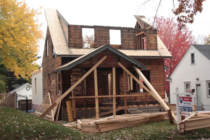 The homeowners are not the victims of a Halloween prank. Rather, the house in the 1200 block of Jefferson is stripped to its skivvies in preparation for a rebuild that likely involves an expansion.