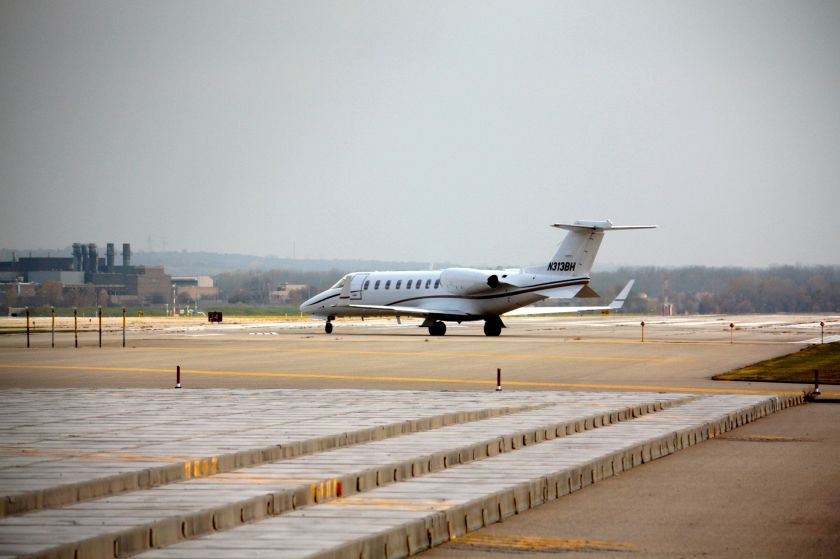 A corporate jet taxis to its take off point. Gander Mountain, 3M, UnitedHealth Group and Conagra Foods are among the corporations that have jets at Holman Field. A couple of charter airlines fly in and out of Saint Paul too.