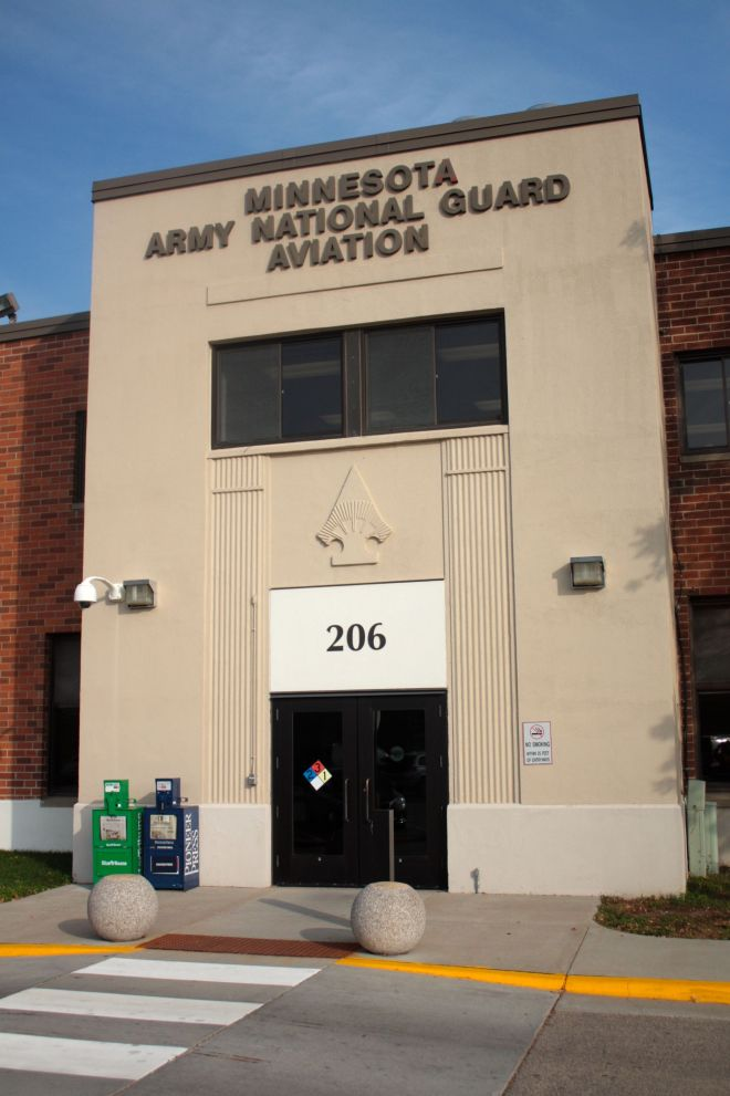 The Minnesota Army National Guard Aviation building is the closest to the terminal.