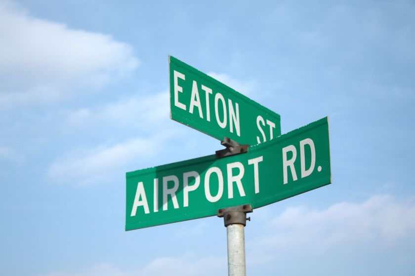 Airport Road meets Eaton Street.