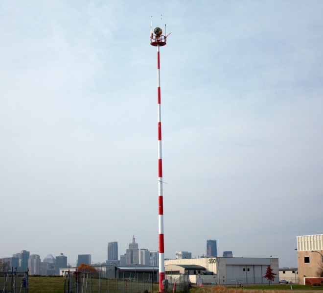 One of two beacons that signal aircraft on the way into Holman Field.