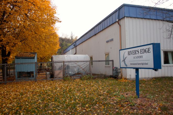 Nearby is a small public charter school called River's Edge Academy, a high school with about 100 students. The outdoors-focused River's Edge Academy partners with organizations including Audubon Center of the North Woods, National Park Service, Dodge Nature Center and Urban Boat Builders.