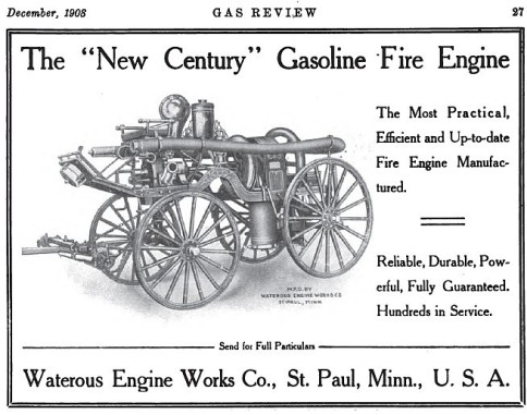 The December 1908 edition of Gas Review magazine featured an advertisement for a Waterous gasoline powered fire engine. Courtesy www.VintageMachinery.org and Tractor & Gas Engine Review.