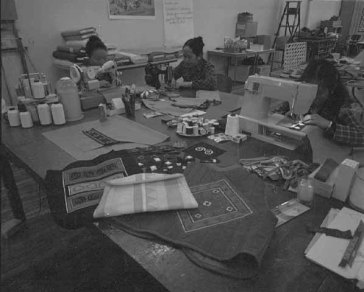 Women sewing at Lao Family Community Center in C.S.P.S. Hall,1983. Courtesy Minnesota Historical Society.