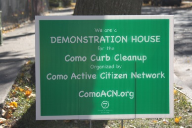This sign sits on the boulevard of the house at 1076 Churchill Street at Orchard Avenue in Como.