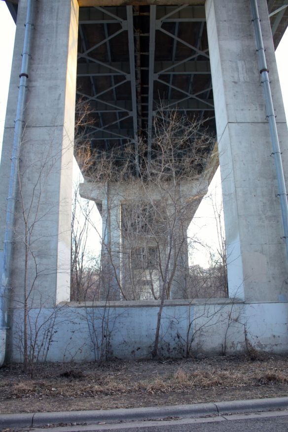 The underbelly of the Highway 5 Bridge, looking south-southwest toward Fort Snelling.
