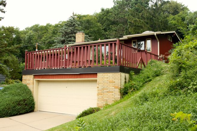 The Windischs built a new garage with a deck on top, on the east end of their property.