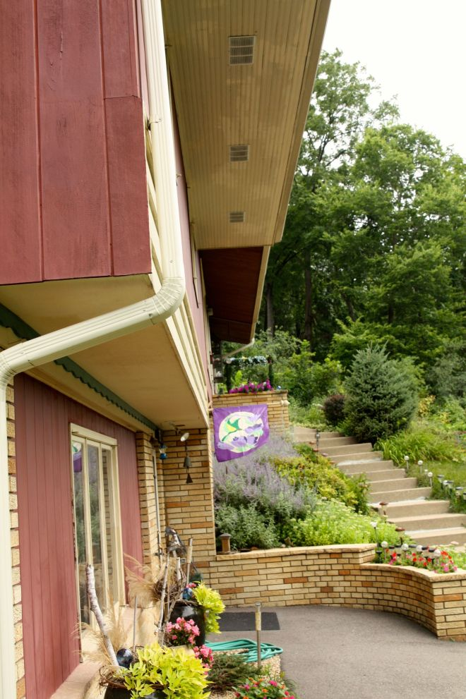 The custom eaves on Shirley and Frank's home have a noticeably longer overhang than most.