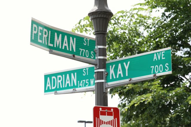 """The signs make it look as though three streets intersect here. In reality, Adrian Street undergoes a name change to Kay Avenue. I'm wondering if the Perlman family has or had members named Adrian and Kay? Niether street existed when the latest edition of """"The Street Where You Live"""" by Don Empson, was published."""