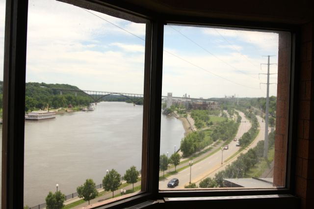 The magnificent view from the 6th story office of the sheriff in the old ADC spans more than 90 degrees. That's Shepard Road in the foreground and the Smith Avenue High Bridge in the distance.