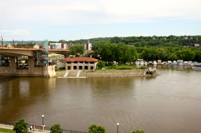 Harriet Island and the Wabasha Avenue Bridge dominate the southerly view from the same office.
