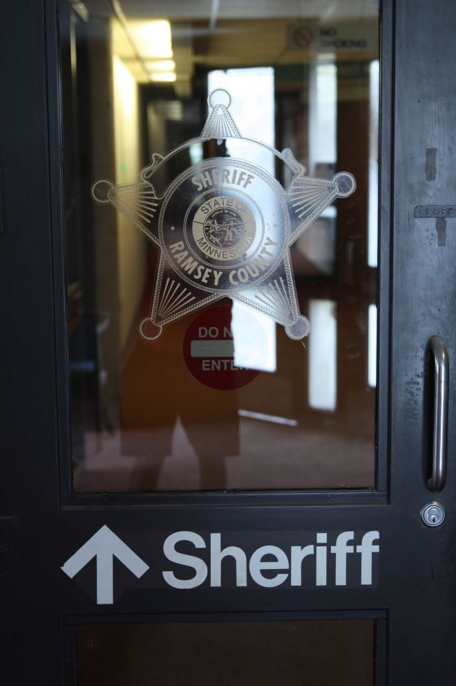 The entrance to the sheriff's department on the 6th level of the former jail.