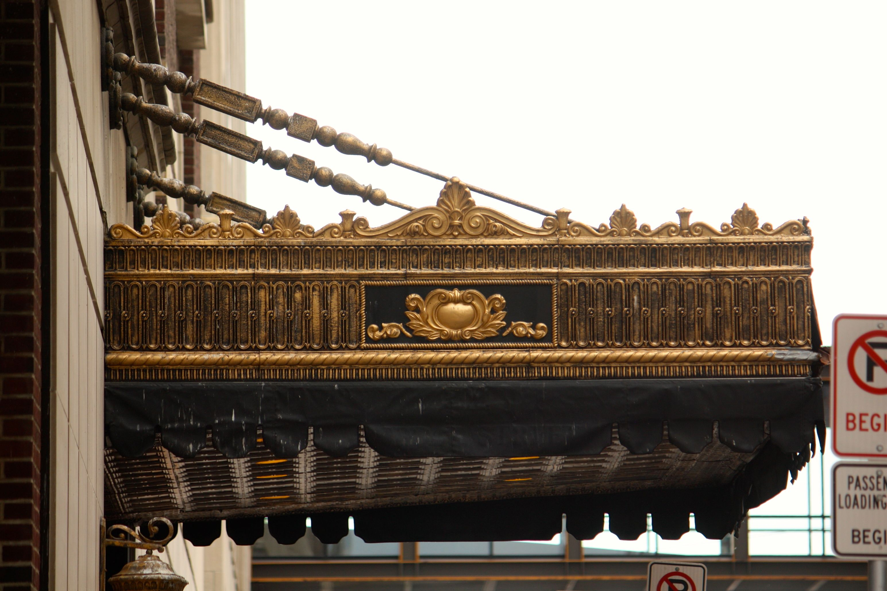 A close look at the ornate awning over the entrance of the St. Paul Athletic Club/Hotel 340.