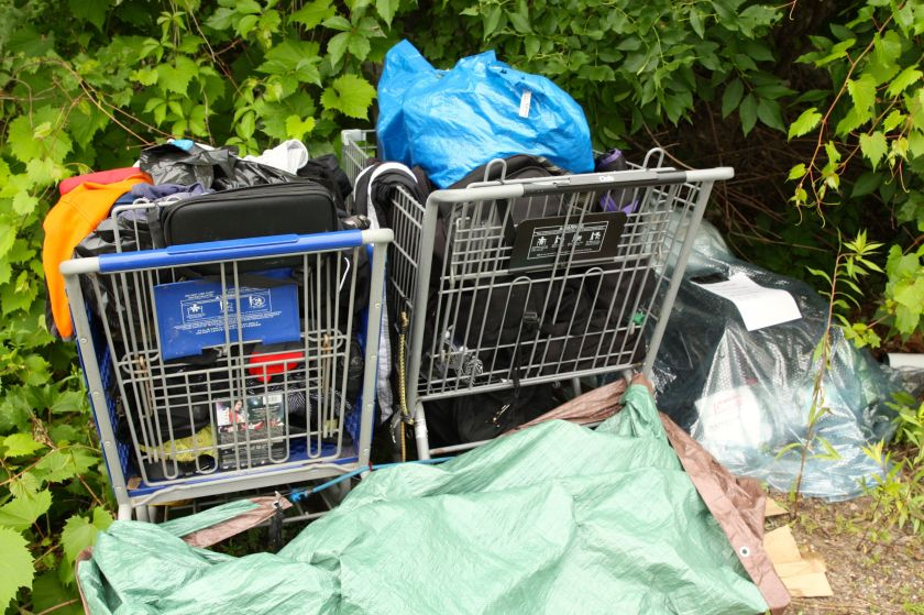 """Almost certainly the belongings of some homeless folks, authorities have """"red tagged"""" them, a warning to move them or lose them."""