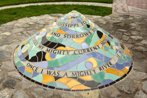 This colorful conic sculpture with an embedded poem about the Mississippi River is my favorite.