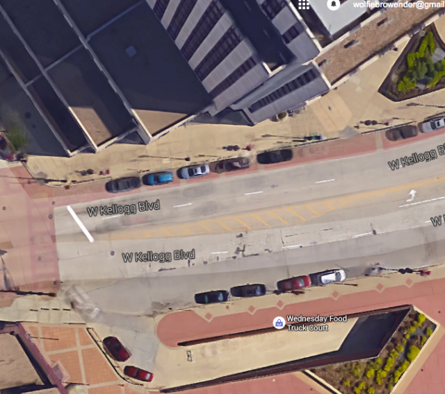 An aerial of the sally port via Google Earth.