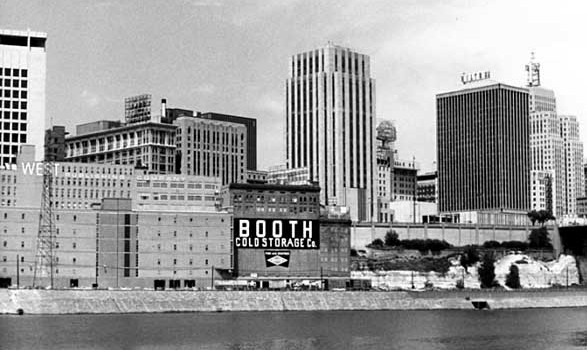 Here's a similar view from 1965. Notice the empty space to the right of Booth Cold Storage. That's where the ADC was built. Nearly every building in this picture still stands. Courtesy Minnesota Historical Society.