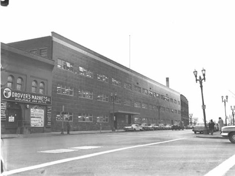 Prior to becoming part of the Ramsey County Government Center-West, these buildings were part of Drover's Market and West Publishing. Taken in December 1960. Courtesy Minnesota Historical Society.