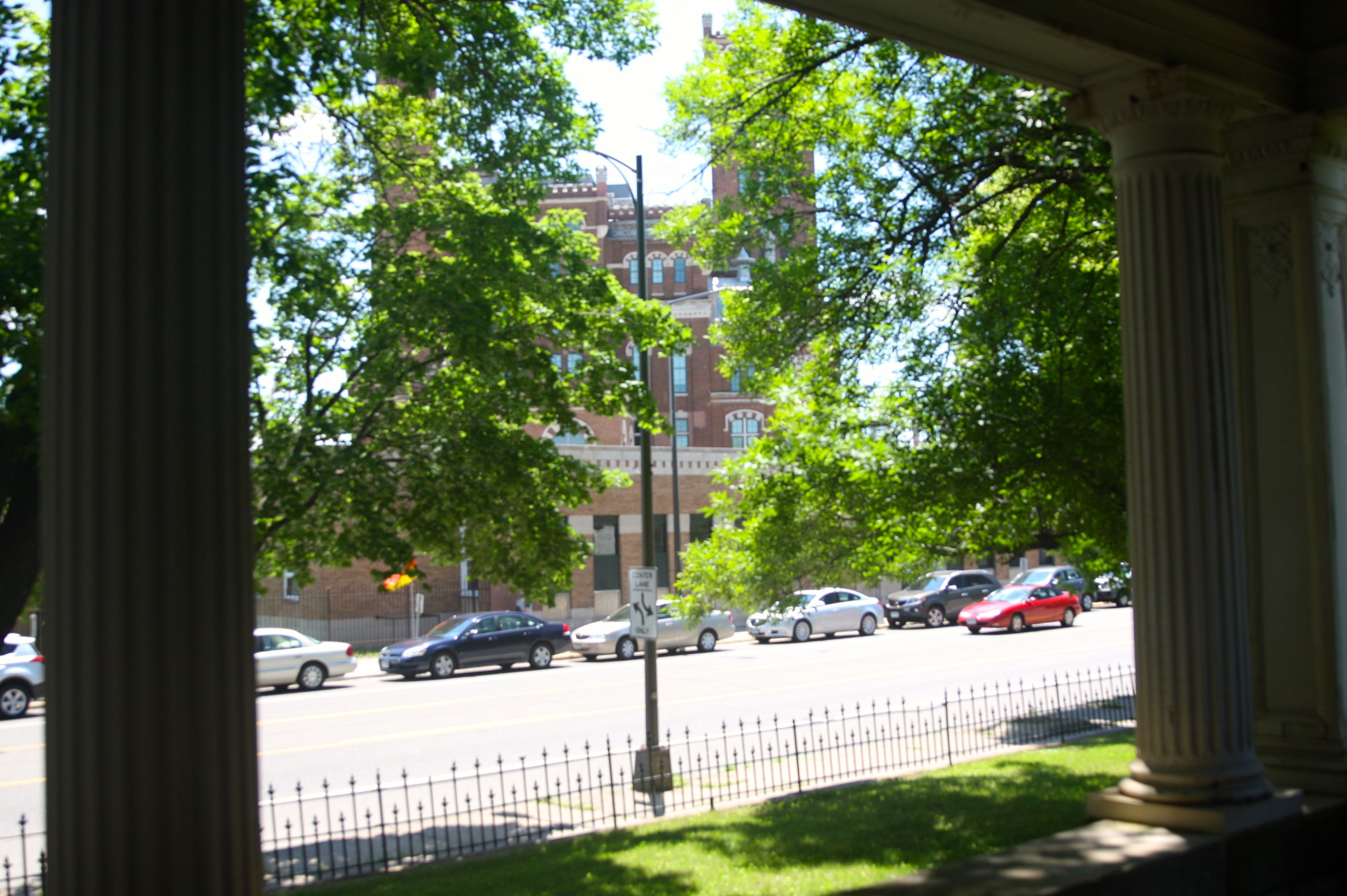 Even with the heavy traffic along West 7th, it's not hard envisioning he convenience the Stahlmanns and later the Schmidt family enjoyed living across the street from their brewery. This is the view from the front porch of the former Bremer home.