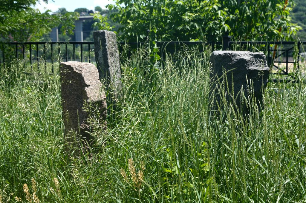 """These granite blocks and a couple of others not in the frame sit among the grass just south of where St. Clair and Bluff Streets meet. Google, nor the Facebook group """"Old St. Paul minn"""", shed much light on what these are, who placed them and when."""