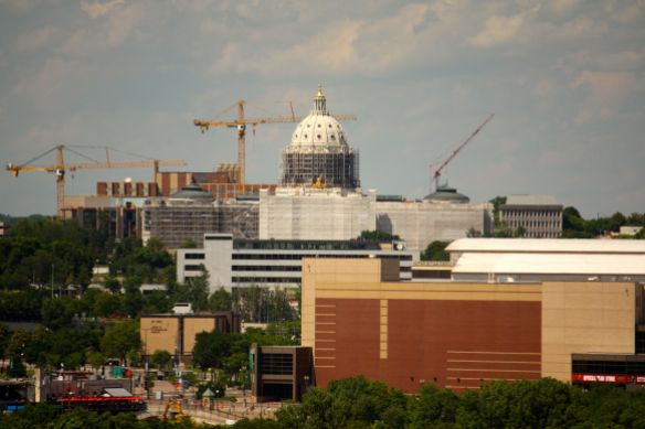 The Minnesota State Capitol, in the midst of a $200-million renovation, also hovers prominently above the rest of Downtown.