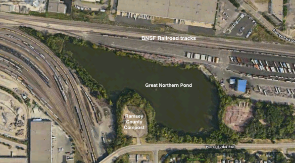 The size and seclusion of the Great Northern Pond is apparent in the screen grab from Google Earth.