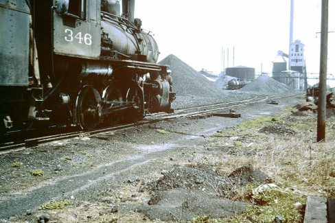 A steam engine sits idle at Koppers Coke in August 1961. Photo by Douglas Bailey