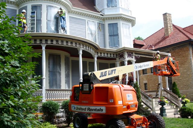 The height of the W.W. Bishop Home requires a lift as well as ladders and scaffolding.