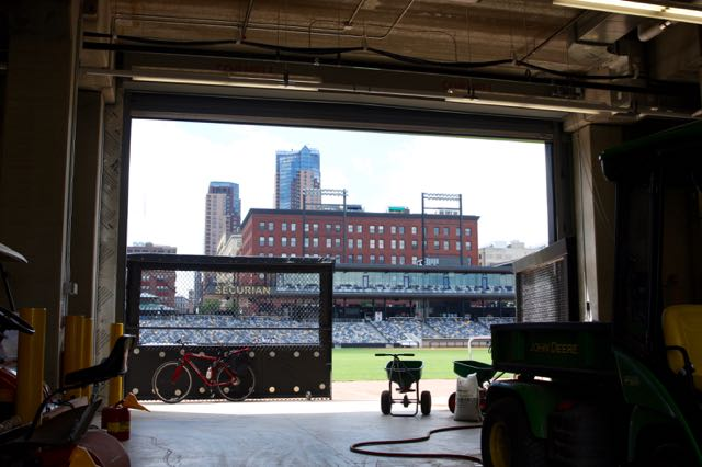 This vantage point is from inside the service entrance/loading dock of CHS Field. Equipment for field upkeep are stored here. One of two gates is open during field maintenance prior to a game.