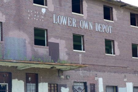 The Lowertown Depot as it looked when I took this ride. The photo is from Commercial Street, which passed the east side of the building.