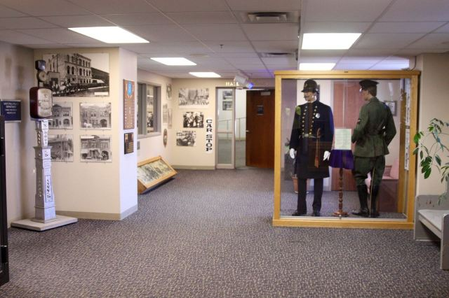 The police museum exhibits on the second floor occupy a room about 25 feet by 10 feet. The volume of artifacts relegates many to storage areas around the police HQ.