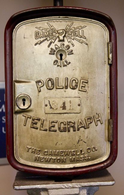 Beat cops used a key to unlock the call box and, depending upon the technology of the time, had a telegraph or phone to let HQ know they were alright.