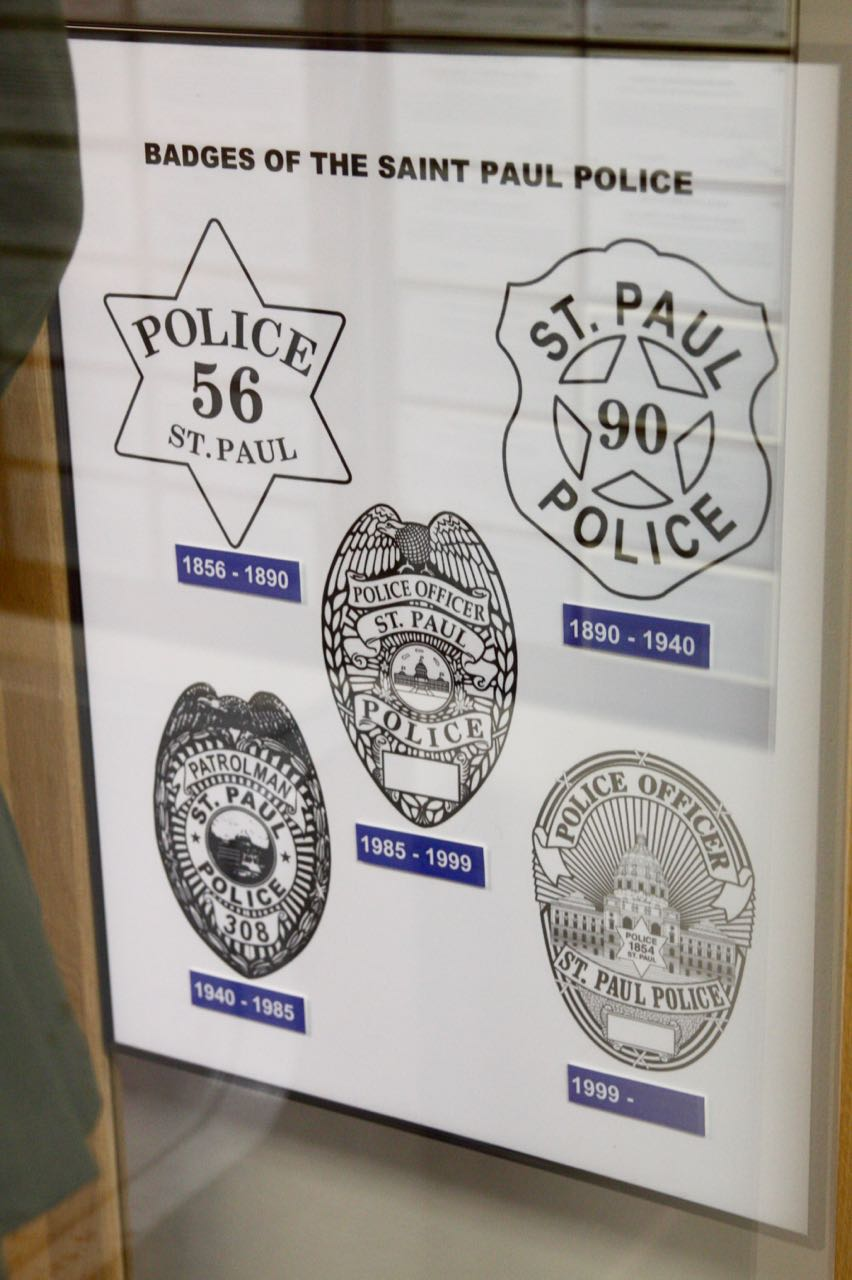 A display about badges in the police museum.
