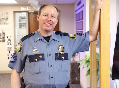 Sergeant Craig Nelson, department historian and juvenile division investigator, in the Saint Paul Police Memorial Museum.