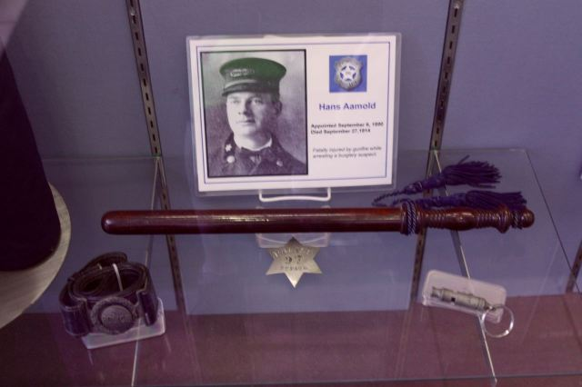 The baton, whistle and belt belonged to Sergeant Hans Aamold,killed in the line of duty in 1914.