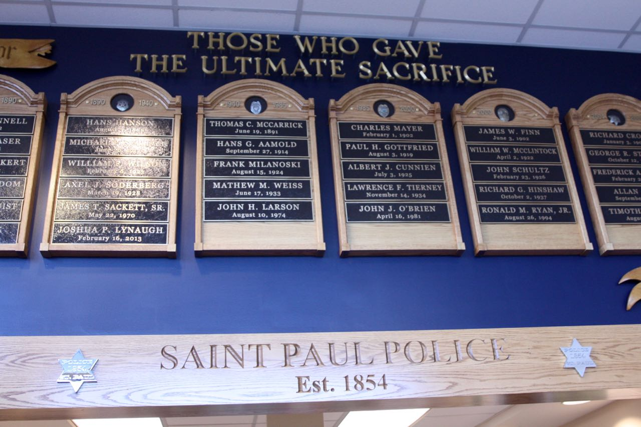 The Wall of Honor, just inside the public entrance of the SPPD headquarters, reminds all visitors of the officers who made the ultimate sacrifice on the job.