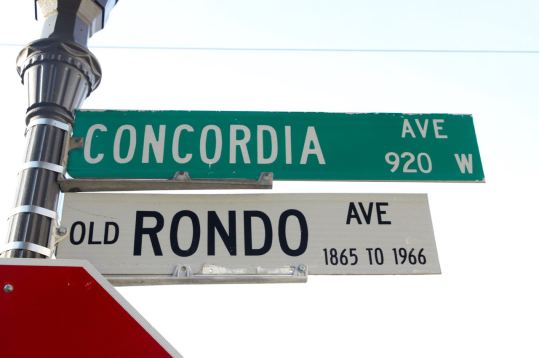 It's Concordia Avenue, but never forget it was Rondo Avenue for 100 years. That ended, as the sign says, in 1966 with the construction of Interstate 94.