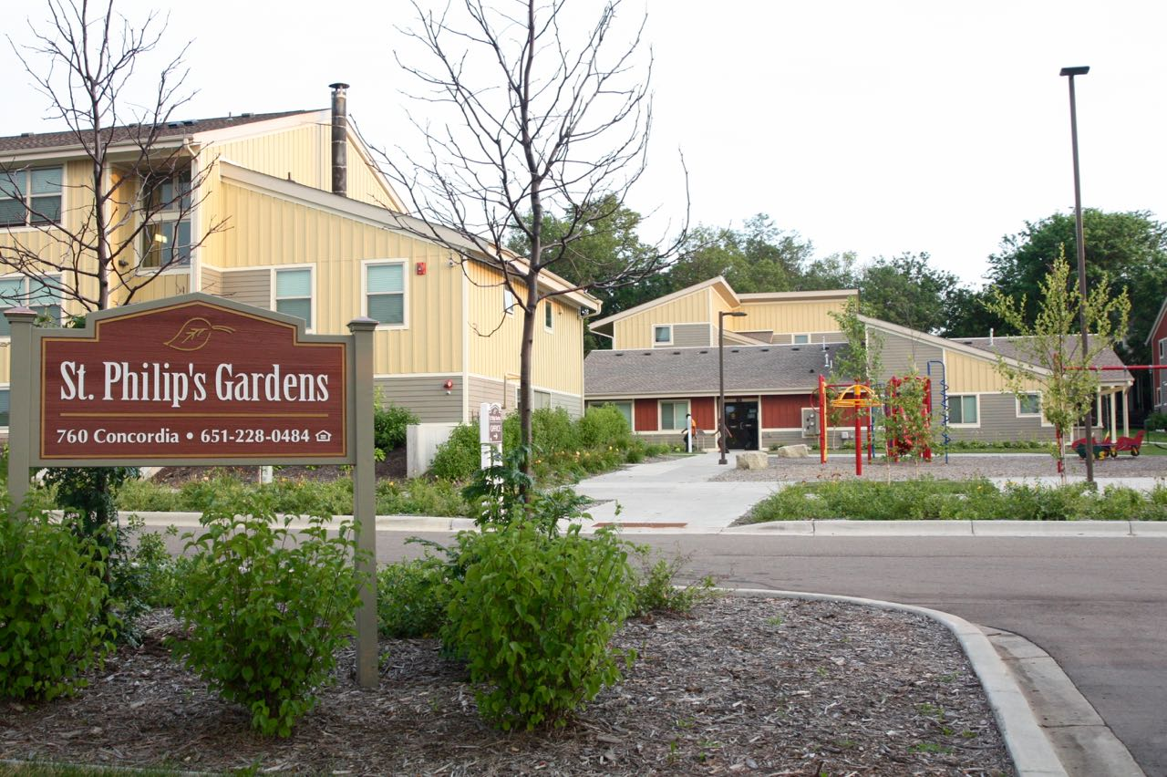 The entrance to the St. Philip's Gardens development, 760 Concordia Avenue.