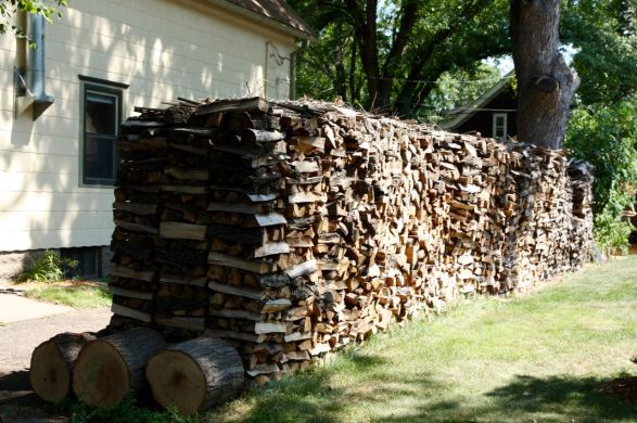 Neatly stacked, the large number of logs should keep everyone warm all winter.