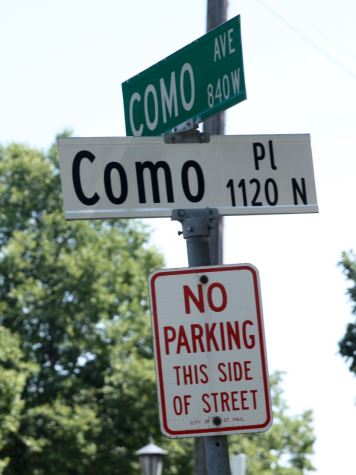 The Como Place sign is the only street sign with black letters and white background I've seen in Saint Paul that is not in honor of a person or place.
